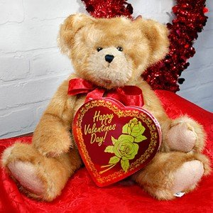 Valentine�s Stuffed Teddy Bear & Chocolates