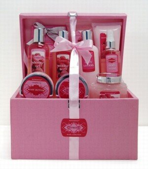 Raspberry Auressence Bath Collection in Cloth Covered Box