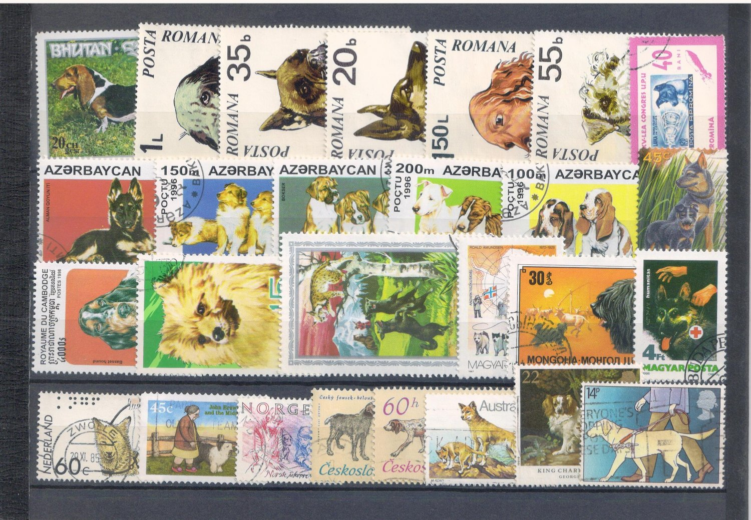 Packet of 25+ stamps featuring DOGS