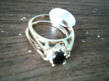Lady Diana ( 2 in 1 ) Blue Sapphire and Fine Crystal Ring ( Size 8 )