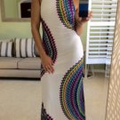 WOMEN'S JR'S MAXI DRESS White Multi Colored Boutique Trend S, M, L, USA  NWT