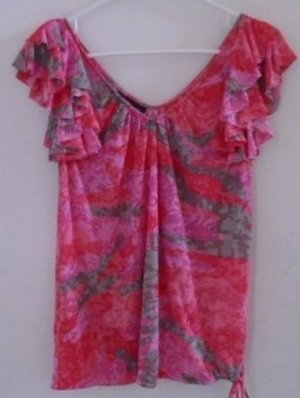 WOMEN'S Blouse Top RUFFLES Pink Brown Red Medium INC V-Neck