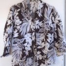 WOMEN'S 100% LINEN BUTTON DOWN BLOUSE SPRING Brown White Size 8 Floral 3/4 Sleev