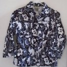 WOMEN'S Blouse Black White Floral Button Down Size Small Mirror Image Short
