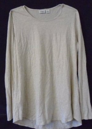 CATO WOMEN'S TOP T-Shirt Beige Tan Size Large Long Sleeves Round Neck