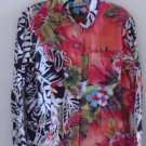 CHICO'S LINEN BLOUSE Fall Winter Black Wht Red Size 0 Small 4 Long Sleeve Floral