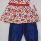 GIRL'S CAPRI PANTS SET Stretch Blue Bottoms Orange White Floral Top Size 3 NWT
