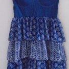 STRAPLESS DRESS Women's Teen Large Blue White Flowers Layered Ruffles