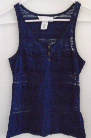 WOMEN'S Teen's Top Tank Blue Lace XS Pattern Sleeveless H&M L.O.G.G.