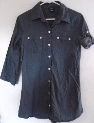 RUE 21 WOMEN'S Button Down Blouse Shirt Top Size Medium Charcoal Gray Pockets