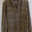 Liz Claiborne Women's SILK Blouse Beige Black Paisley Long Sleeves Size 14 EUC