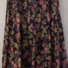 LAURA ASHLEY VINTAGE FULL PLEATED SKIRT Navy Blue Mauve Flowers Sage Leaves 5/6