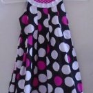 GIRL'S SPRING SUMMER EASTER DRESS Black Pink White Dots Size 5 Rare Editions