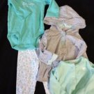 BABY GIRL 4 PIECE OUTFIT SET PANTS TOP JACKETS 6 MONTHS CARTER'S GREEN GRAY