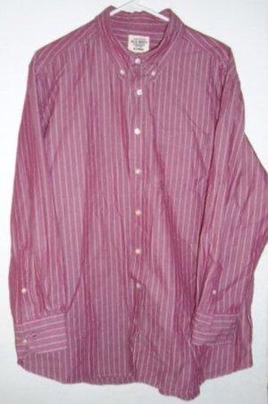 OLD NAVY MEN'S SHIRT Burgundy White Stripes Long Sleeves Size XL Pocket