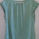 BANANA REPUBLIC BLOUSE Green White Geometrical Pattern Short Sleeves P Medium