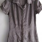 Women's Jr's TUNIC TOP Black White Circles Medium Short Sleeves Silky Buttons