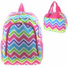 BACKPACK INSULATED LUNCH BAG SET CHEVRON PINK BLUE GREEN PURPLE WHITE NWT