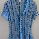 WORTHINGTON BLOUSE Blue Black White Geometrical Pattern Short Sleeves XL
