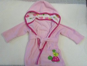 BABY GIRL BATHROBE ROBE Pink Turtles Hooded 0-9 Month Terrycloth Little Splasher