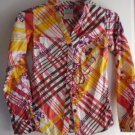 Women's Button Down Blouse Shirt HANG TEN Small Yellow Orange Red White Cotton