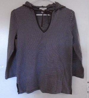 ANN TAYLOR LOFT  Hooded Top Brown White Stripe Medium V-Neck Ties Slits on Sides