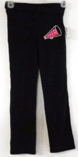 """GIRL'S PANTS CHARCOAL GRAY PINK SILVER STRETCHY """"CHEER"""" 6/7 FALL WINTER NWT"""