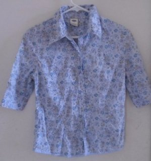 FLORAL BLOUSE WOMEN'S Button Down Front Blues Grey Beige Small Short Sleeves