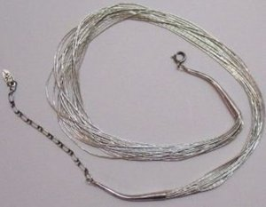 NATIVE AMERICAN Liquid Silver Necklace 20 Strand Signed RB Running Bear