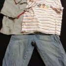 JEANS Baby Boy Toddler Top Polo 18 Months CARTER'S Stripes 3 PIECE SET / LOT
