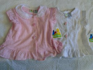 BABY GIRL TOPS 18 Months Pink White Roses Eyelet SESAME STREET Short Sleeves NWT