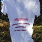 "MATERNITY T-SHIRT TOP BLOUSE Funny White Pink Small ""Warning..Alcohol.."" Ruched"