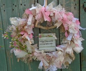 SHABBY CHIC WREATH Ribbon Lace Burlap Pink White French Handmade Rose Cottage