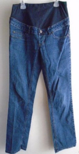 MATERNITY JEANS Blue Size Small Straight Pockets Band Good Condition