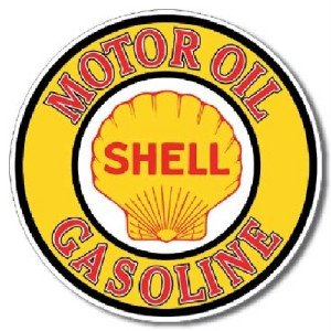 Vintage shell gas oil logo new round metal sign for Garage marque autos richemont