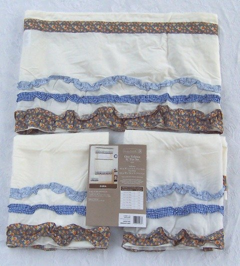 "KITCHEN CURTAIN SET 60"" x 36"" Tier Set 60"" x 14"" Valance Ruffle BROWN BLUE Sarah by Home Trends New"