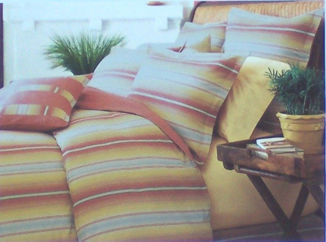 NAUTICA AVIGNON STRIPE Standard PILLOW SHAM SOUTHWEST Colors Red Gold Clay Green 100% Cotton New