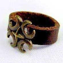 Handcrafted Leather & Brass Ring - TRIBAL BEAT - Size 7.5 / 8