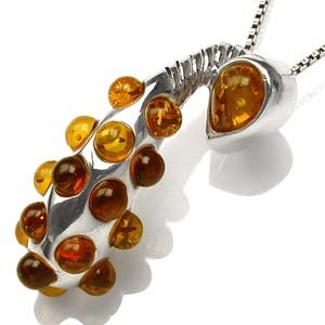 Genuine Amber Studded Sterling Silver Pendant - STUNNING!!!