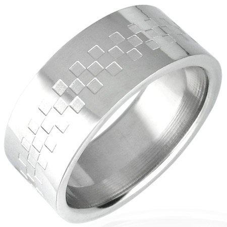 CHECKERED Stainless Steel Ring - Size 9
