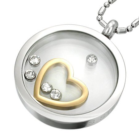 GP Glass HEART Pendant with CZ's