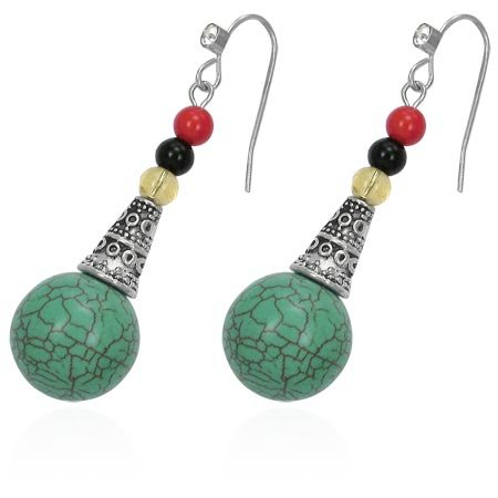 Turquoise Color Bead Earrings - LIFE JOURNEY