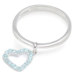 Topaz Sterling Silver Heart Charm Ring - size 5