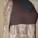 $78 Brown Mini Dress L/S Babydoll Empire Waist Sz L