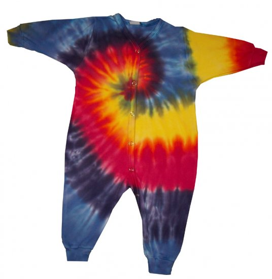 Custom Tie Dye Baby Hippie One Piece Union Suit Newborn Infant Toddler Cotton Tiedye