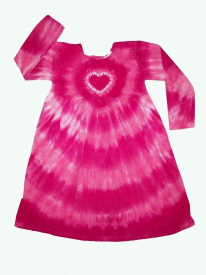 Custom Tie Dye Hippie Toddler Girls Empire Dress Long Sleeve Hand Dyed Childs Tiedye