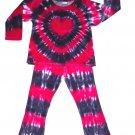 Tie Dye Girls Plush Velour Valentine Heart 2 Piece Outfit