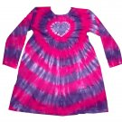Tie Dye Hippie Toddler Girls Heart Empire Dress Long Sleeve Hand Dyed Childs Custom Tiedye