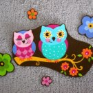 5 Pc Owl Pair with Flowers No Sew Iron On Appliques Cotton Patches Retro