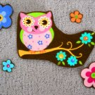 5 Pc Owl with Flowers No Sew Iron On Appliques Cotton Patches Retro